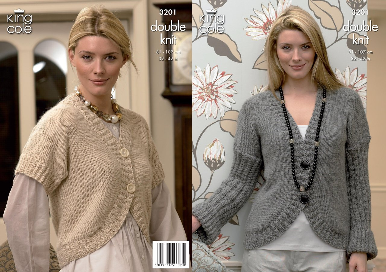King Cole 3201 Knitting Pattern Womens Cardigan and Bolero in King ...