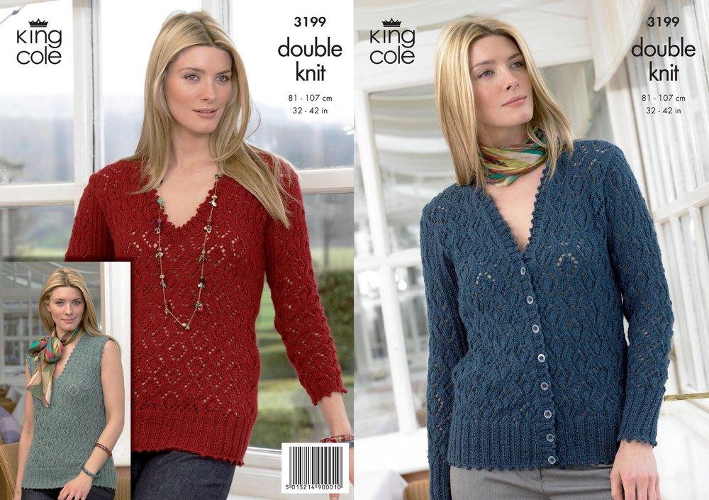 01fbb4822 King Cole 3199 Knitting Pattern Womens Sweater