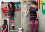 King Cole 3325 Knitting Pattern Sweater Dress, Hooded Top and Beret in King Cole Riot DK