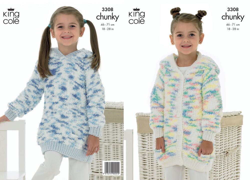 King Cole 3308 Knitting Pattern Cardigan & Sweater in King Cole ...