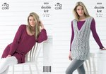 King Cole 3323 Knitting Pattern Womens Sleeveless and Long Sleeved Tops / Tunics in King Cole DK