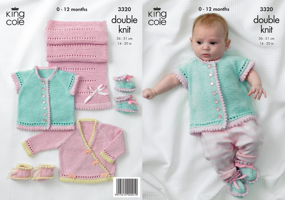 King Cole 3320 Knitting Pattern Cardigans, Shoes and Pram Cover in ...