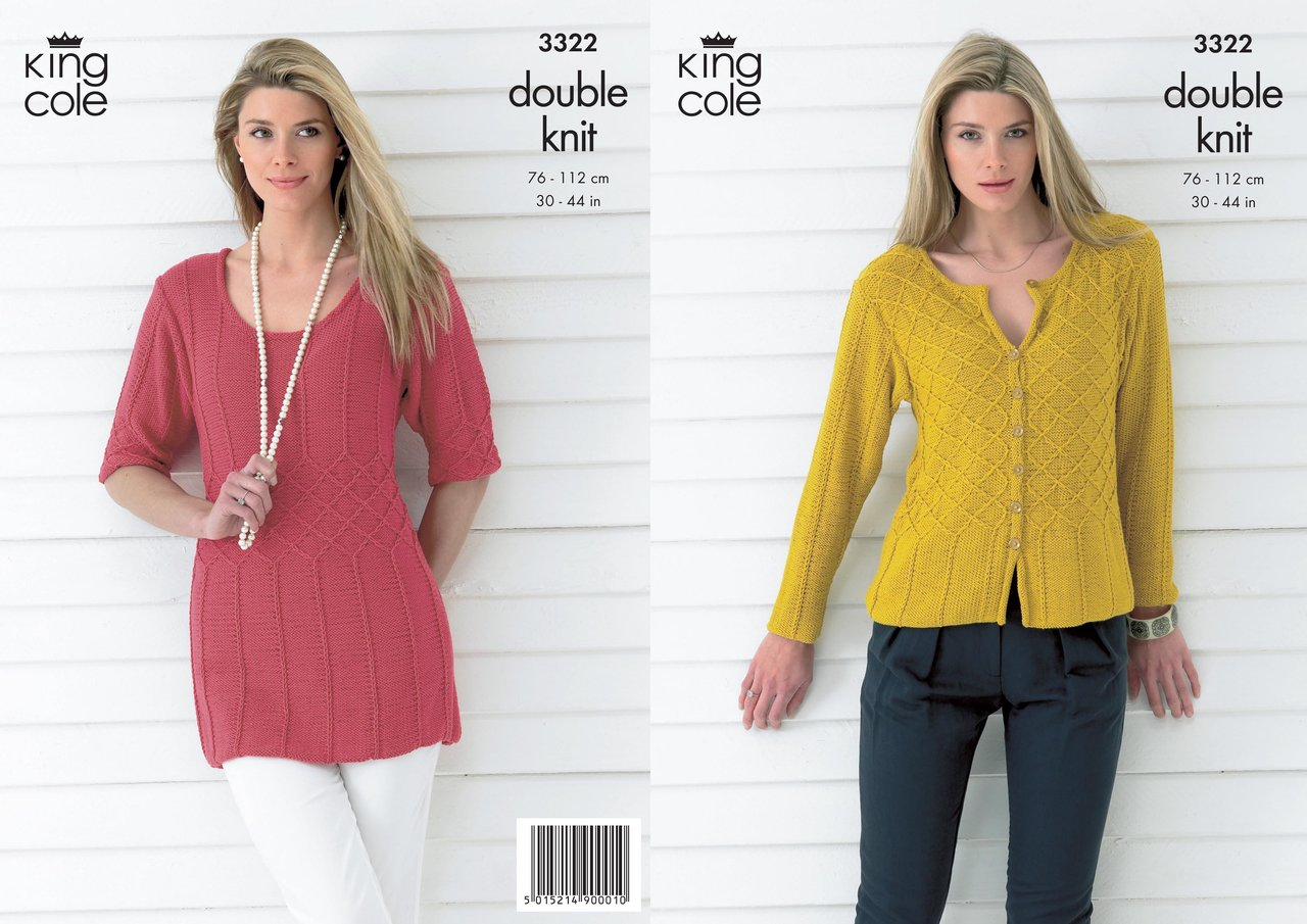 King Cole 3322 Knitting Pattern Womens Top and Cardigan in King Cole ...