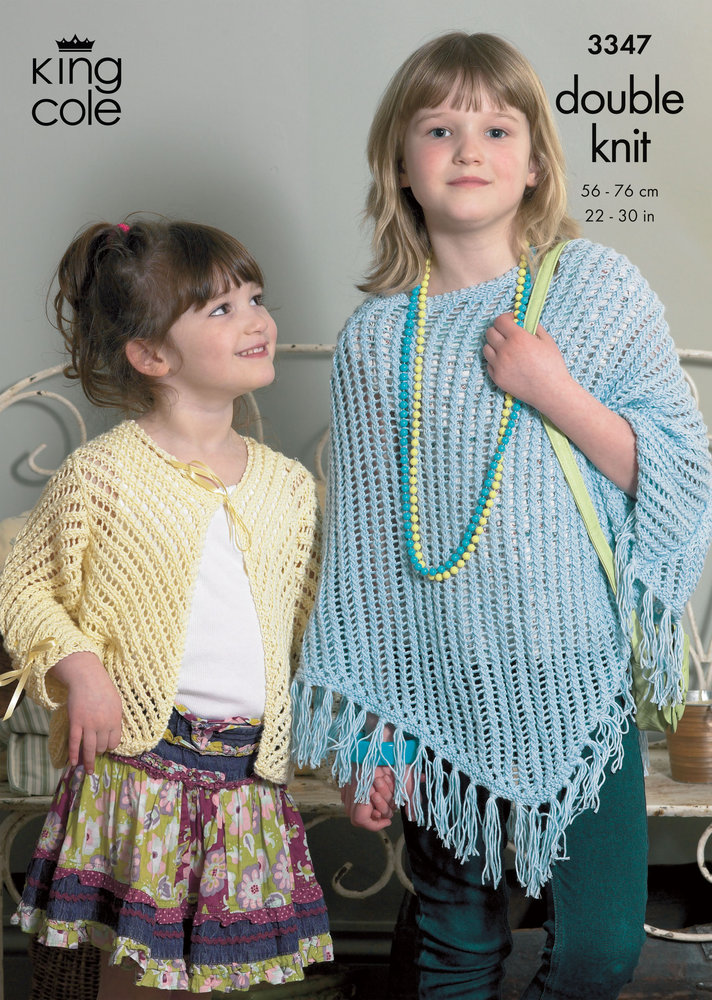 King Cole 3347 Knitting Pattern Girls Poncho & Cardigan in King Cole ...