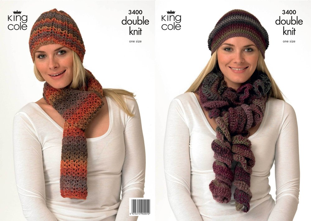 King Cole 3400 Crochet Pattern Hats And Scarves Crocheted In King