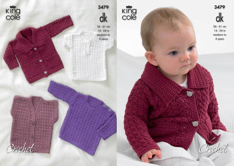 9c82070b0734a4 King Cole 3479 Crochet Pattern Collared Cardigan