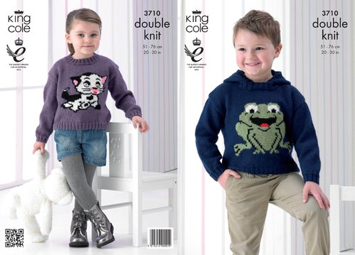 King Cole 3710 Knitting Pattern Childrens Frog and Cat Sweaters in King Cole Pricewise DK