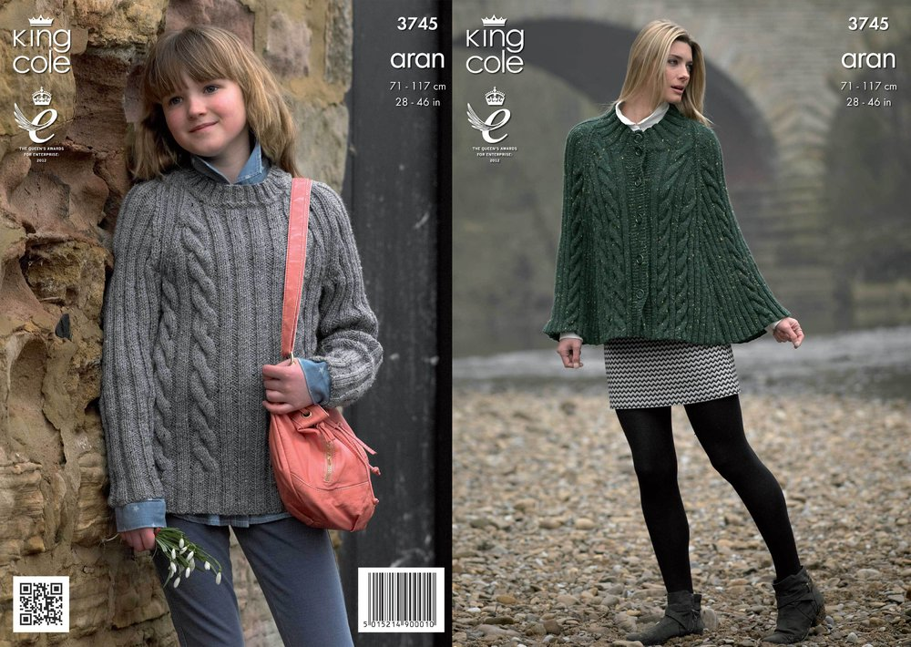 King Cole 3745 Knitting Pattern Cape And Sweater In King Cole