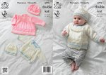 King Cole 3773 Knitting Pattern Dress, Jacket and Hats in King Cole Baby Glitz DK