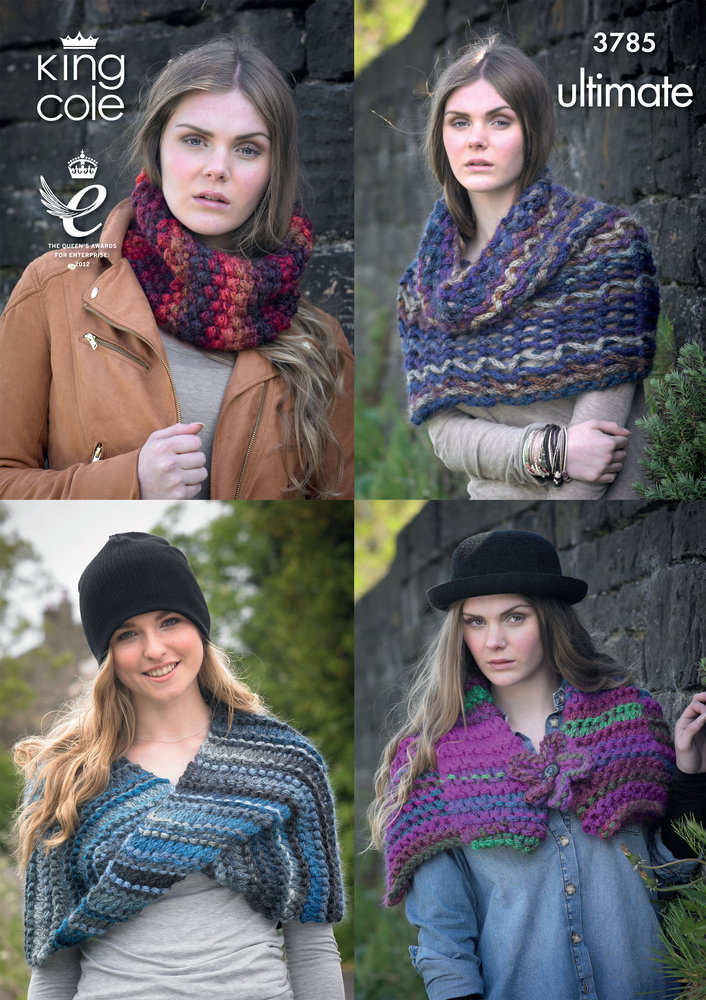 King Cole 3785 Knitting Pattern Snood Collar Wrap And Shrug In
