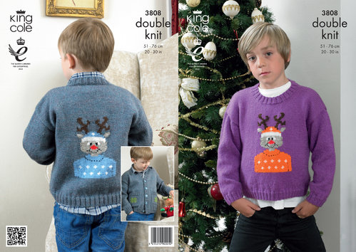 King Cole 3808 Knitting Pattern Rudolph Christmas Sweater and Jacket in Pricewise DK