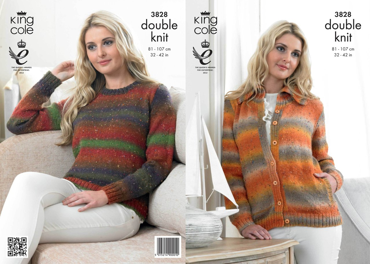 King Cole 3828 Knitting Pattern Womens Cardigan and Sweater in King ...