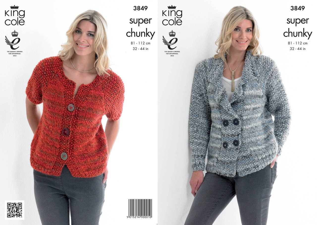 King Cole 3849 Knitting Pattern Jacket and Cardigan in King Cole ...