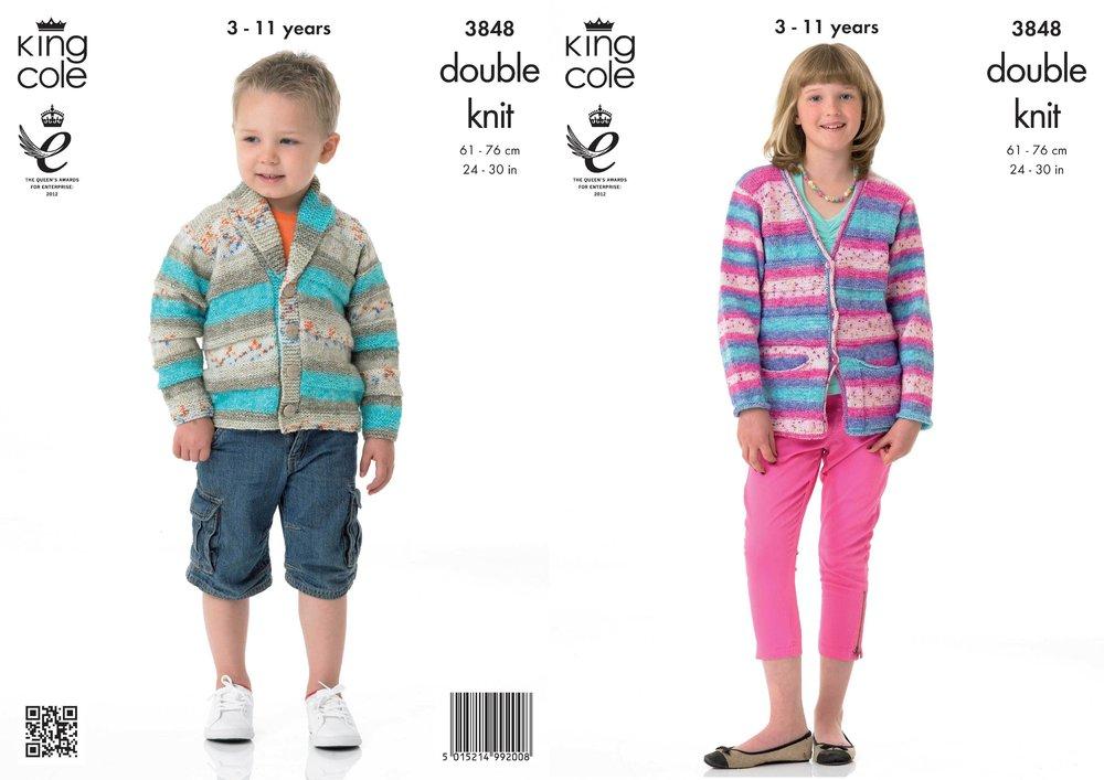King Cole 3848 Knitting Pattern Childrens Cardigans In Splash Dk