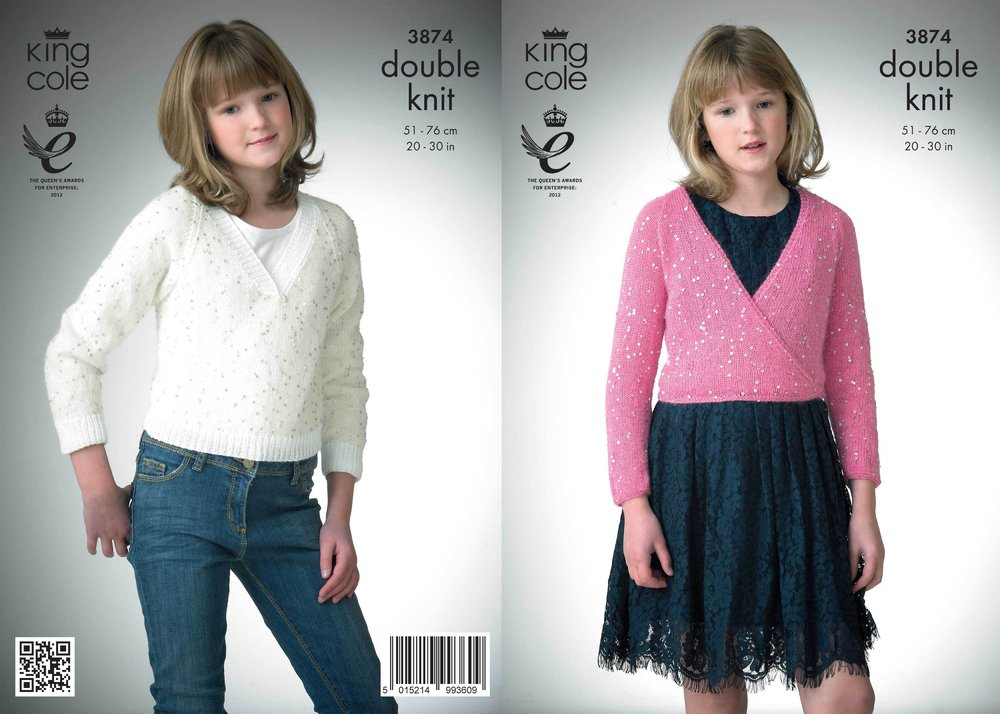 8dc45f1513808c King Cole 3874 Knitting Pattern Ballet Top   V-Neck Sweater in King Cole  Galaxy DK - Athenbys
