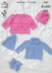 King Cole 3927 Knitting Pattern Jackets, Hats, Bootees and Shawl in King Cole Cottonsoft DK