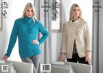 King Cole 3934 Knitting Pattern Womens Sweater and Jacket in King Cole Moods Duet DK