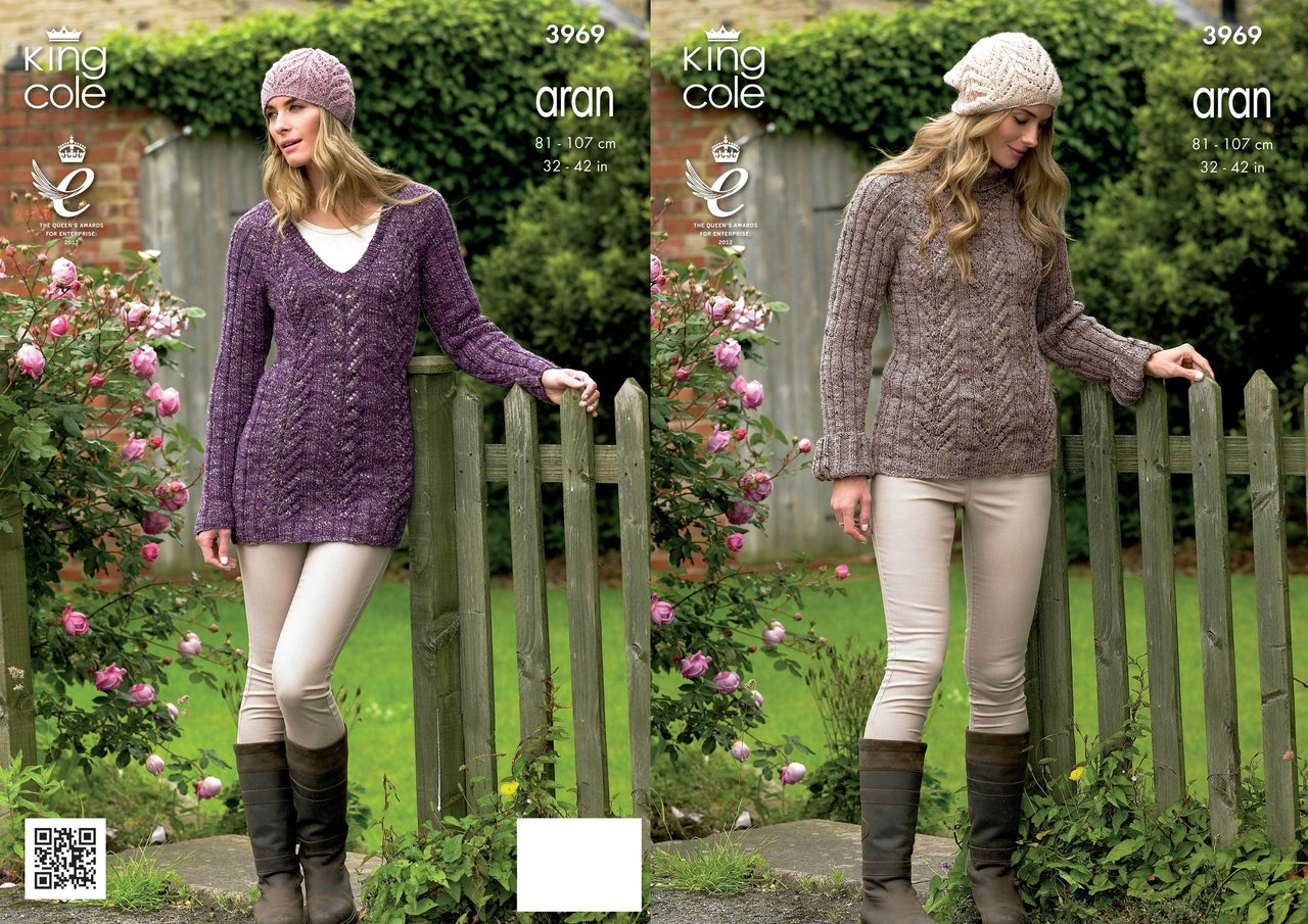 King Cole 3969 Knitting Pattern Sweater, Tunic and Hat in King Cole ...