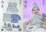 King Cole 3970 Knitting Pattern Baby Set In King Cole Comfort DK Prints
