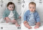 King Cole 3989 Knitting Pattern Cardigans and Romper Suits in King Cole Bamboo Cotton 4 Ply