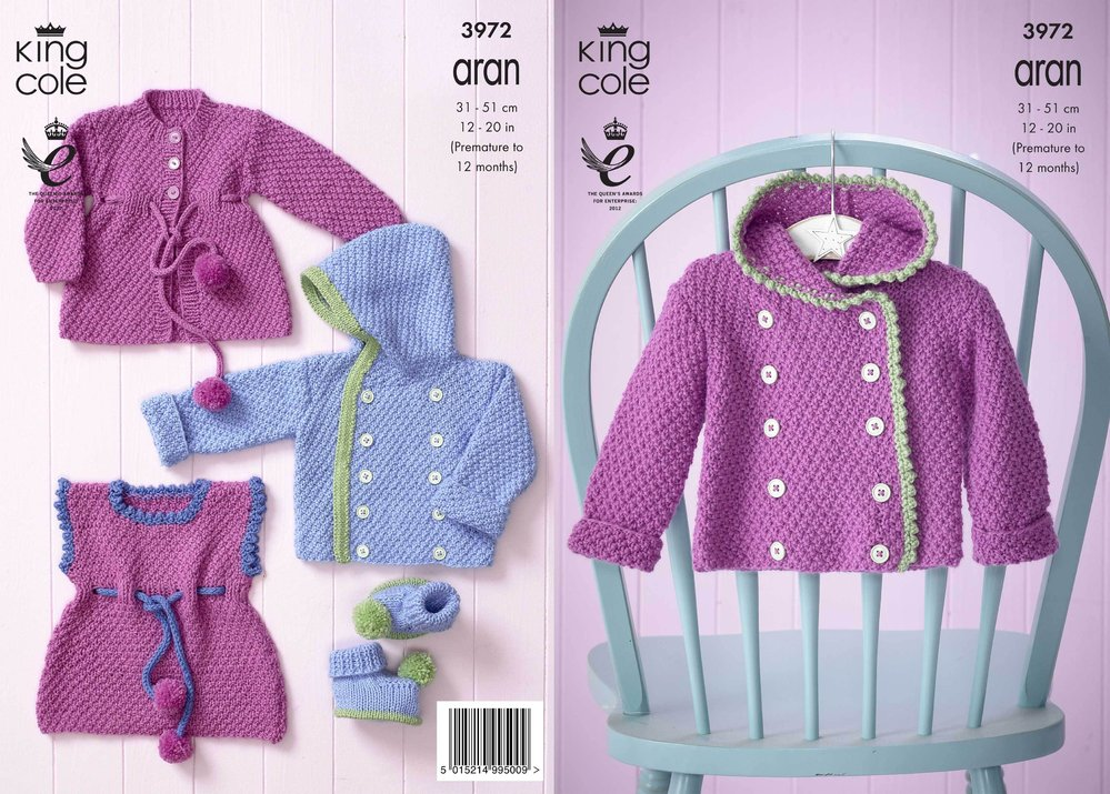 79839d4b7598c King Cole 3972 Knitting Pattern Baby Set in King Cole Comfort Aran -  Athenbys