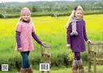 King Cole 4022 Knitting Pattern Dress, Cardigan and Accessories in King Cole Masham DK