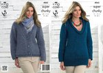 King Cole 4065 Knitting Pattern Sweater and Cardigan in King Cole Big Value Super Chunky