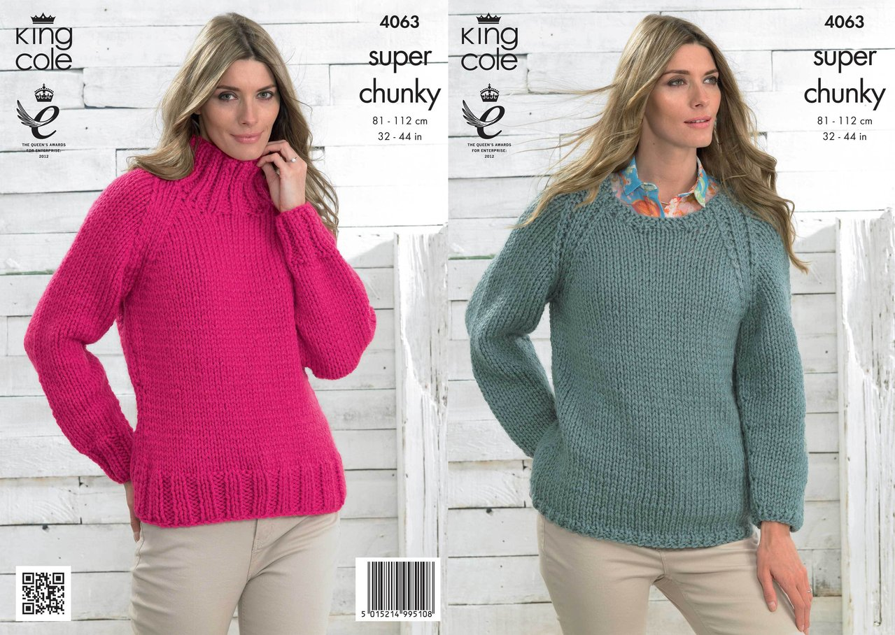 King Cole 4063 Knitting Pattern Sweaters in King Cole Big Value ...