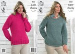 King Cole 4063 Knitting Pattern Sweaters in King Cole Big Value Super Chunky