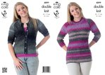 King Cole 4099 Knitting Pattern Womens Cardigan and Tunic in King Cole Country Tweed DK