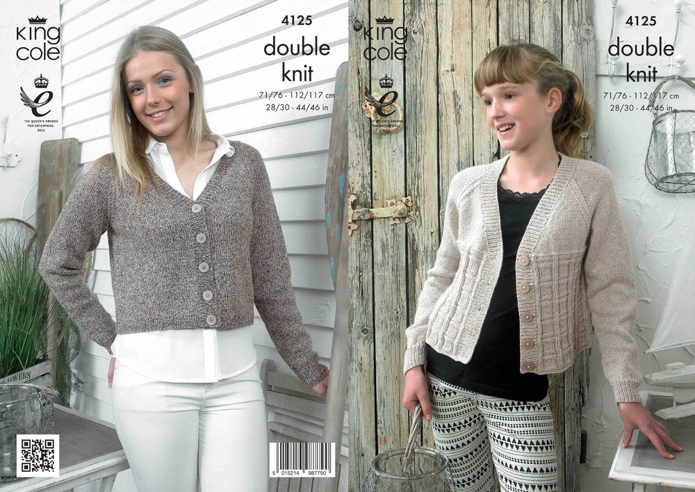 ad5237960 King Cole 4125 Knitting Pattern Cropped Raglan Cardigans in King Cole  Authentic DK - Athenbys