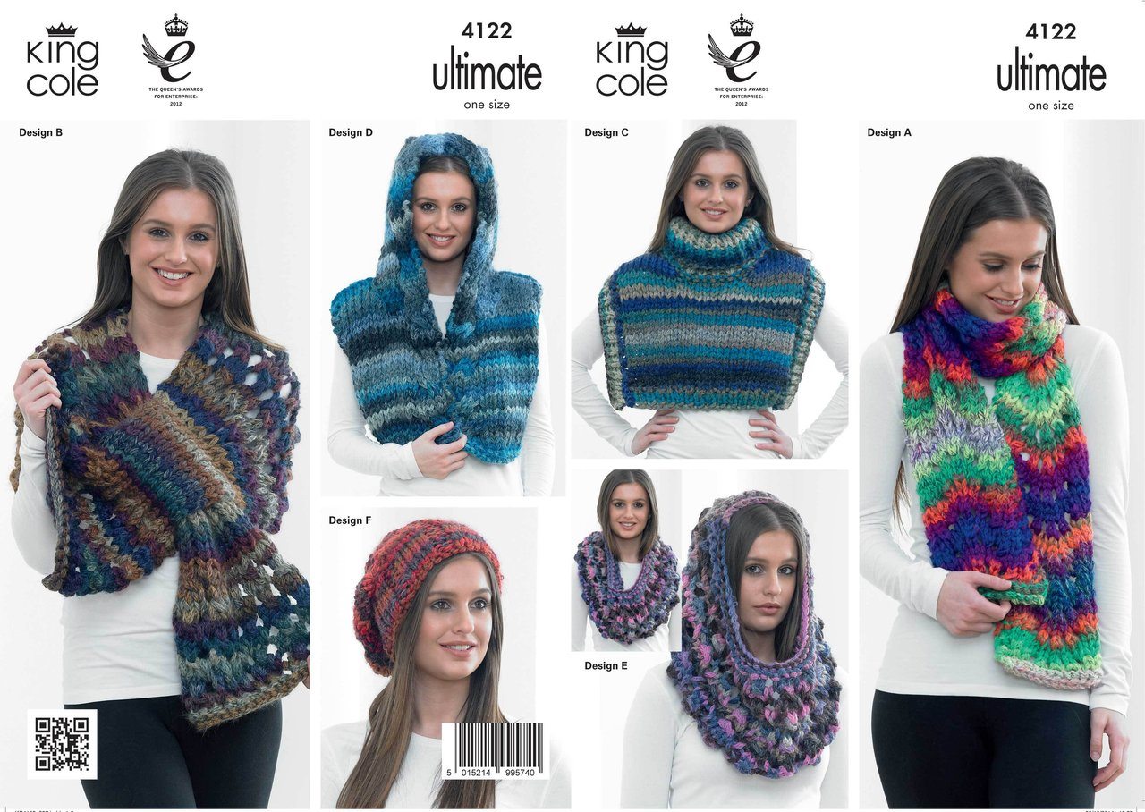 King Cole 4122 Knitting Pattern Chevron Scarf, Wraps, Cowl & Slouchy ...