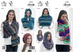 King Cole 4122 Knitting Pattern Chevron Scarf, Wraps, Cowl & Slouchy Hat in Ultimate Super Chunky