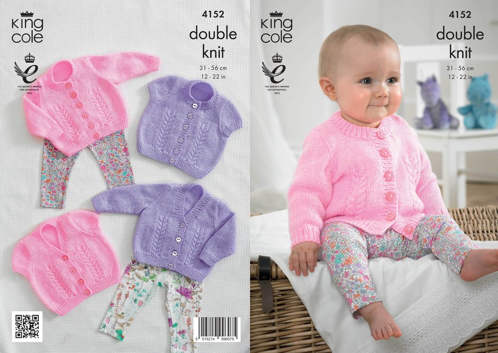 King Cole 4152 Knitting Pattern Baby Cardigans In King Cole Big