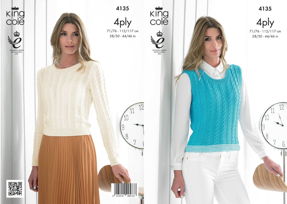 King Cole 4135 Knitting Pattern Ladies Cabled Sweater and Slipover ...