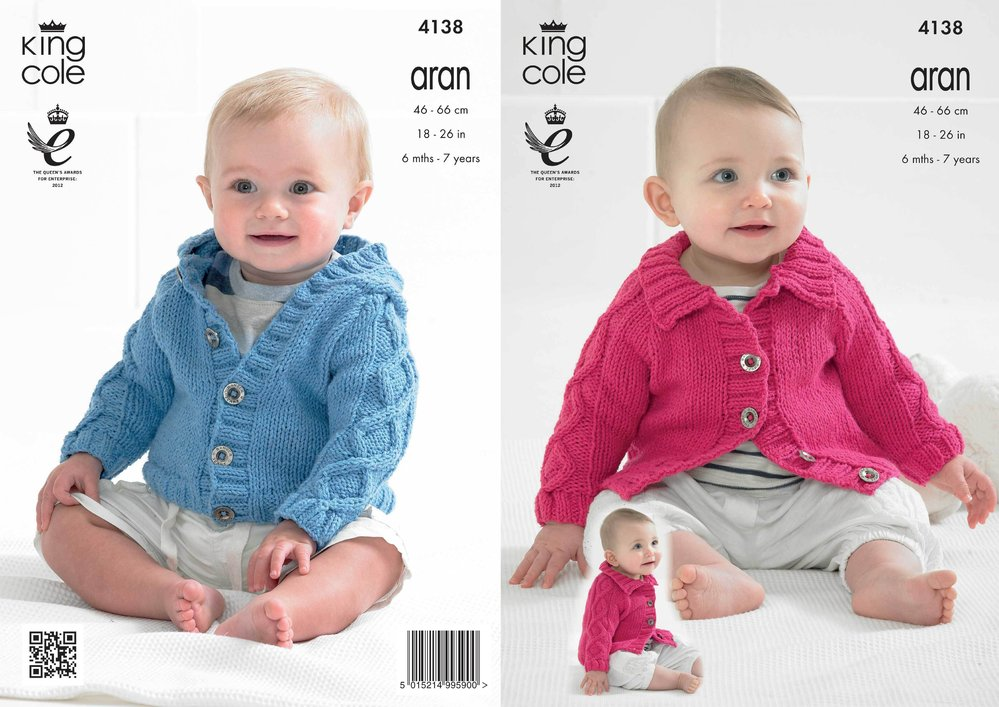 1a72086f8 King Cole 4138 Knitting Pattern Babies  Raglan Cardigans in Big ...