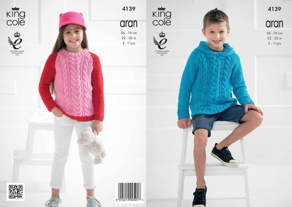 f5c790831e16 King Cole 4139 Knitting Pattern Sweaters in King Cole Big Value ...