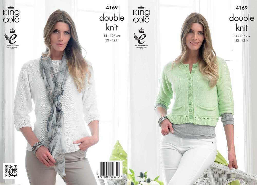5a4cd2717 King Cole 4169 Knitting Pattern Sweater and Cardigan in King Cole ...