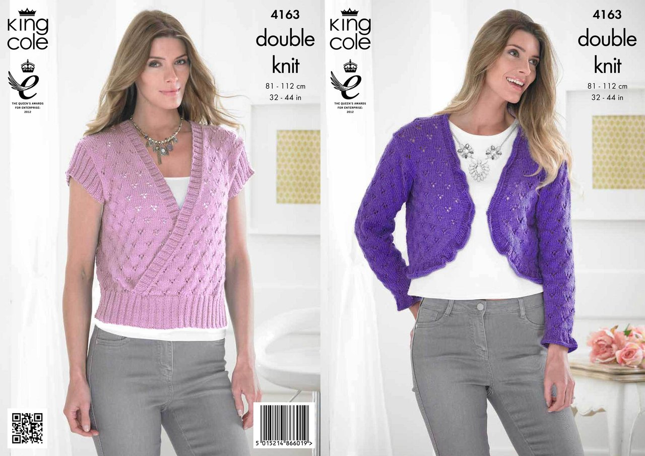 King Cole 4163 Knitting Pattern Sweater and Bolero in King Cole ...