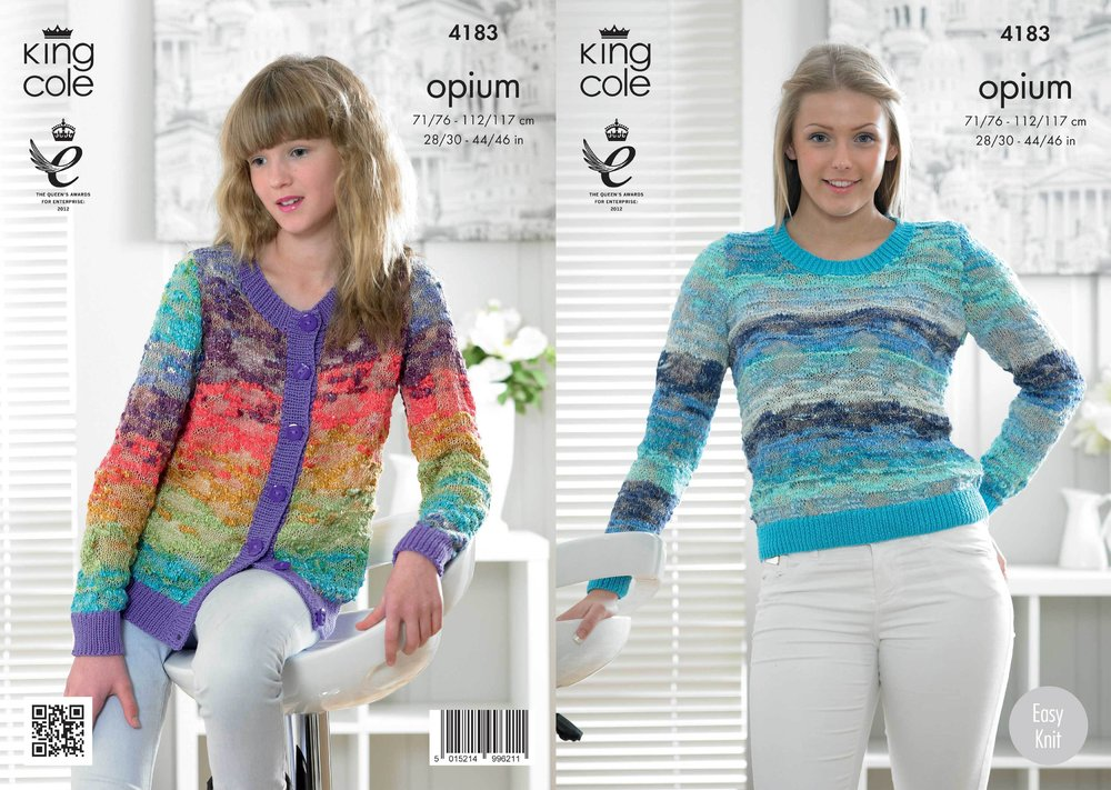 51e395fed King Cole 4183 Knitting Pattern Sweater and Cardigan in King Cole Opium  Palette - Athenbys