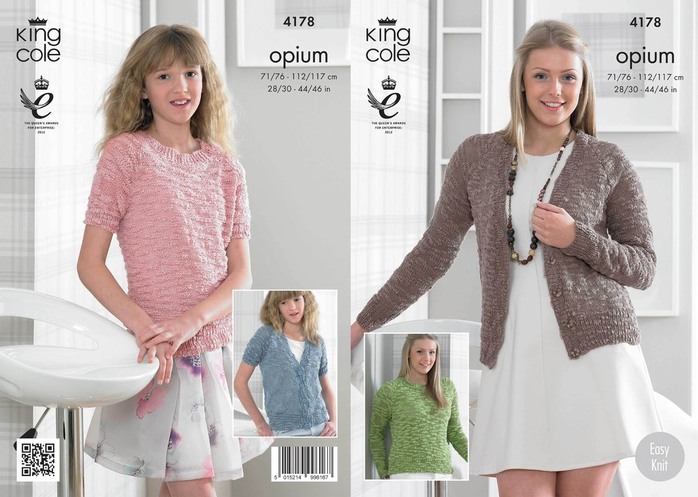 fcf26d409 King Cole 4178 Knitting Pattern Cardigans and Sweaters in King Cole Opium -  Athenbys