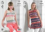 King Cole 4185 Knitting Pattern Summer Tops With And Without Frill in King Cole Opium Palette