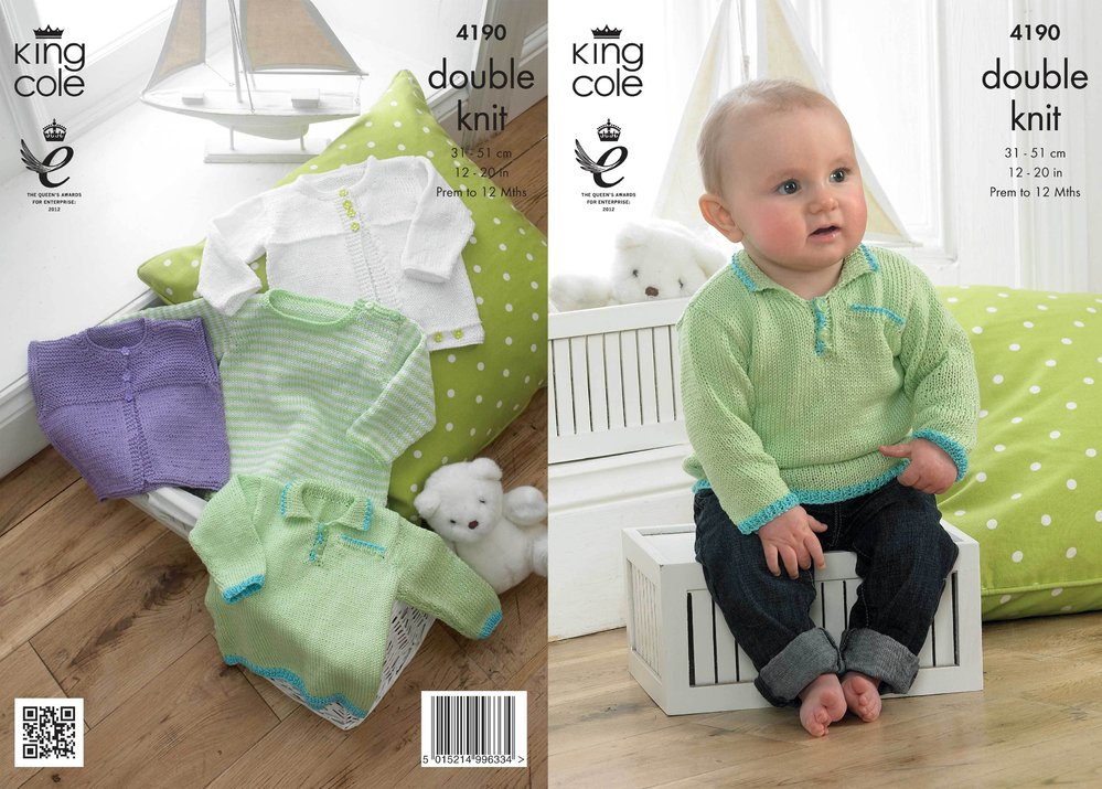 King Cole 4190 Knitting Pattern Baby Set in King Cole Giz Cotton DK