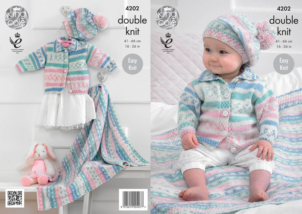King Cole 4202 Knitting Pattern Babies Cardigan Blanket And Beret