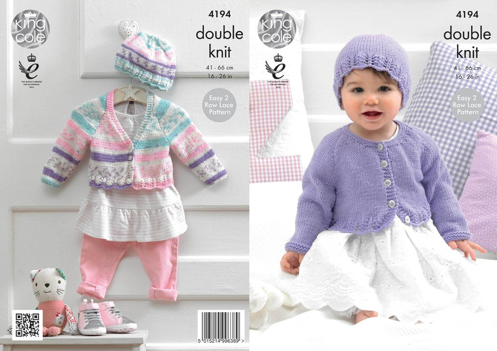 4721821dd2d8 King Cole 4194 Knitting Pattern Cardigans and Hat in King Cole ...
