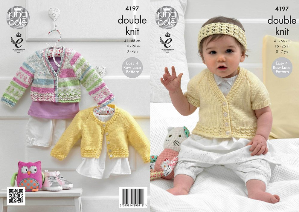 1e98207c7 King Cole 4197 Knitting Pattern Cardigans and Headband in King Cole ...