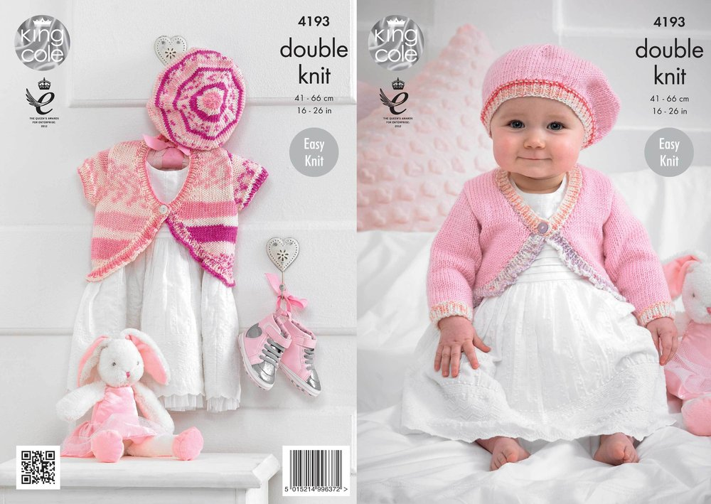 71975850e5c4 King Cole 4193 Knitting Pattern Baby Cardies and Beret in King Cole ...