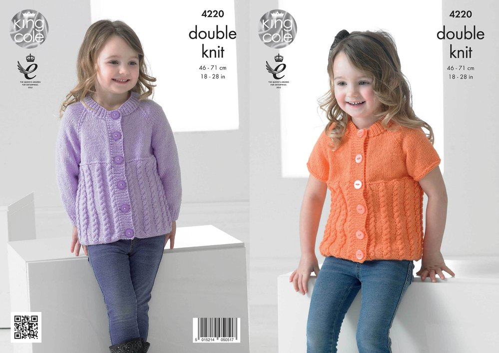 29c78b1b15d3 King Cole 4220 Knitting Pattern Cabled Raglan Cardigans in King Cole ...