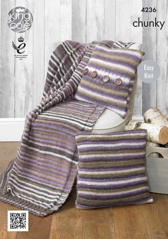 King Cole 4236 Knitting Pattern Blanket And Cushion Covers In Riot