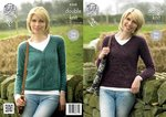 King Cole 4268 Knitting Pattern Raglan Cardigan and Sweater in Panache DK